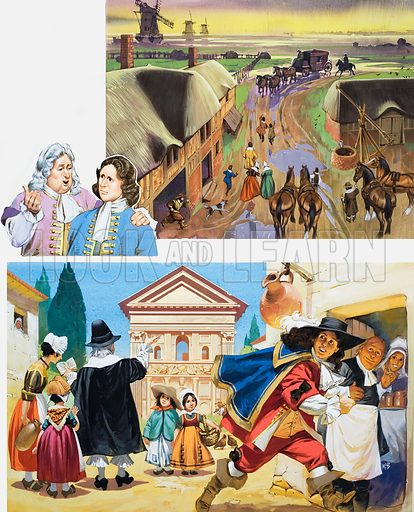 The English Abroad. Top: When the exiles returned they had plenty of advice to give to would-be travellers about coaching routes across Europe and the best places to stay. Bottom: Young men on the Grand Tour often escaped their tutors, preferring taverns to temples! Original artwork for the illustrations on p 15 of L&L issue no. 490 (5 June 1971).