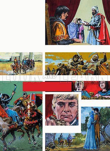 The Legend of Rodrigo of Vivar, better known as El Cid. The Cowardly Counts. Original artwork for illustrations on p40 of L&L issue no. 669 (9 November 1974).