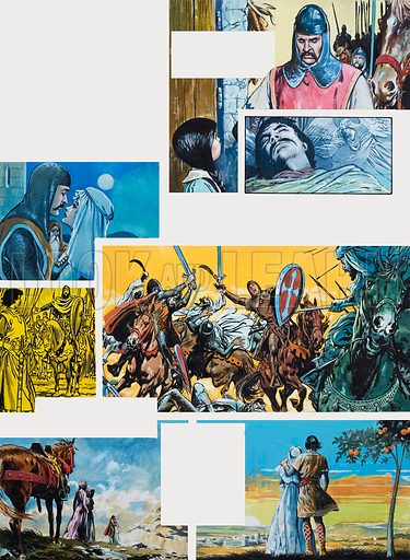 The Legend of Rodrigo of Vivar, better known as El Cid. Dream of Greatness. Original artwork for illustrations on p40 of L&L issue no. 667 (26 October 1974).