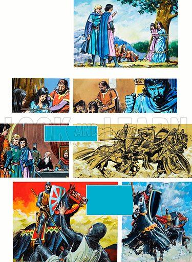 The Legend of Rodrigo of Vivar, better known as El Cid. The Duel. Original artwork for illustrations on p11 of L&L issue no. 670 (16 November 1974).