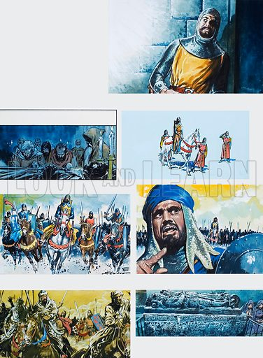 The Legend of Rodrigo of Vivar, better known as El Cid. The Final Victory. Original artwork for illustrations on p40 of L&L issue no. 671 (23 November 1974).