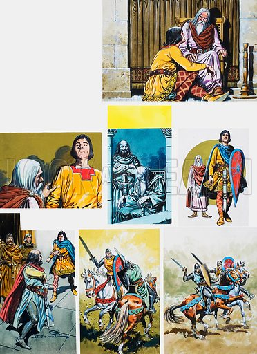 The Legend of Rodrigo of Vivar, better known as El Cid. The duel of Death. Original artwork for illustrations on p40 of L&L issue no. 664 (5 October 1974).