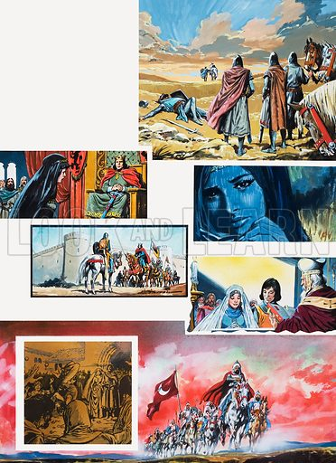 The Legend of Rodrigo of Vivar, better known as El Cid. The King's Plea, Original artwork for illustrations on p 40 of L&L issue no. 665 (12 October 1974).
