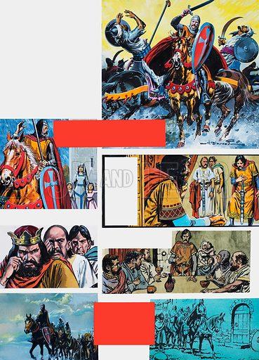 The Legend of Rodrigo of Vivar, better known as El Cid. Into Exile. Original artwork for illustrations on p40 of L&L issue no. 666 (19 October 1974).