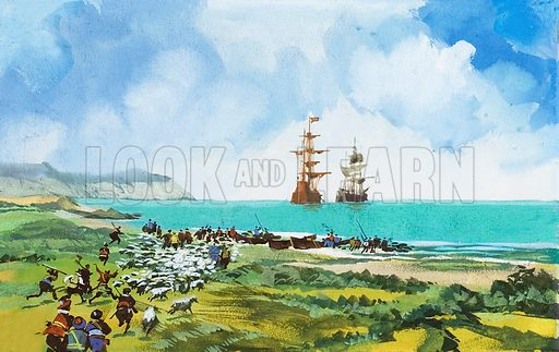 Ships arriving. Original artwork for Look and Learn (issue yet to be identified).