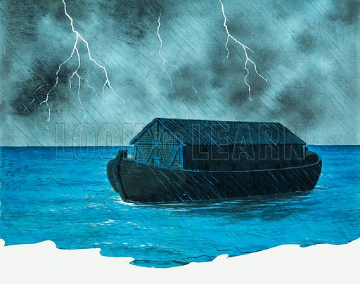 Noah's Ark. Original artwork for illustration in The Bible Story or Look and Learn (issue yet to be identified).