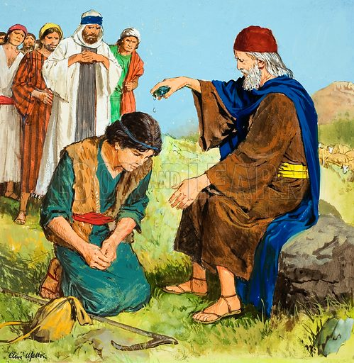 The Story of David retold from the First Book of Samuel in the Bible: The Anointing of David.  Original artwork for illustration on p 9 of Treasure issue no 218.  Lent for scanning by The Gallery of Illustration.