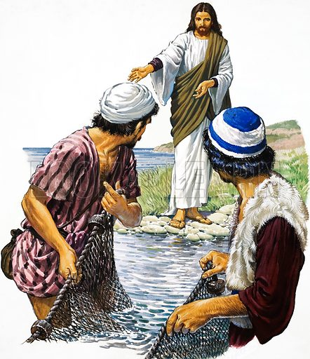 Christ with Fishermen.  Original artwork for The Bible Story or Look and Learn (issue yet to be identified). Lent for scanning by The Gallery of Illustration.