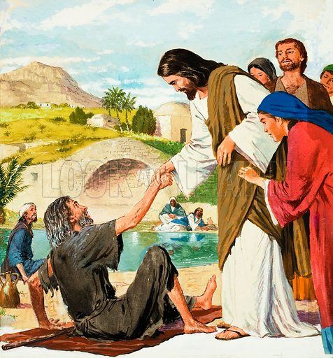 The Miracles of Jesus: Making the Lame Man Walk.  Original artwork for illustration on p9 of Treasure issue no 165.  Lent for scanning by The Gallery of Illustration.