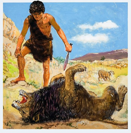 The Story of David retold from the First Book of Samuel in the Bible: David, the Brave Shepherd.  Original artwork for illustration on p9 of Treasure issue no 217.  Lent for scanning by The Gallery of Illustration.