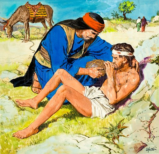 The Parables that Jesus told, taken from St Luke's Gospel in The Bible: The Good Samaritan.  Original artwork for illustration on p9 of Treasure issue no 181.  Lent for scanning by The Gallery of Illustration.