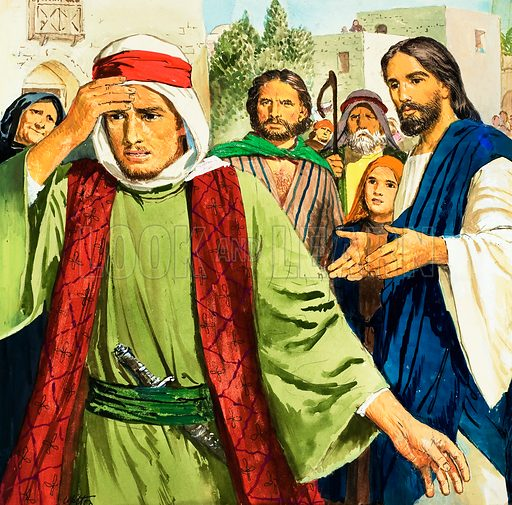 Men who came to Jesus: The Rich Young Man.  Original artwork for illustration on p9 of Treasure issue no 248.  Lent for scanning by The Gallery of Illustration.