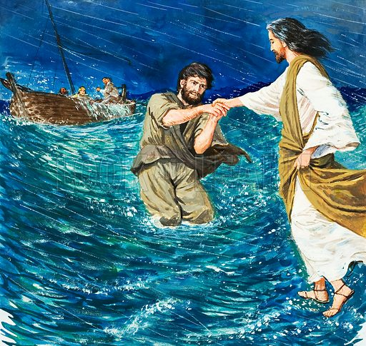 Jesus Christ walking on water on the Sea of Galilee. Original artwork for illustration on p9 of Treasure issue no 167.