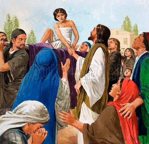 The Miracles of Jesus: The Widow's Son from St Luke's Gospel in The Bible. original artwork for illustration on p9 of Treasure issue no 170.