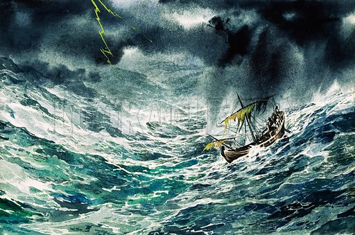 Ship in a storm. Original artwork for illustration in Look and Learn (issue yet to be identified.