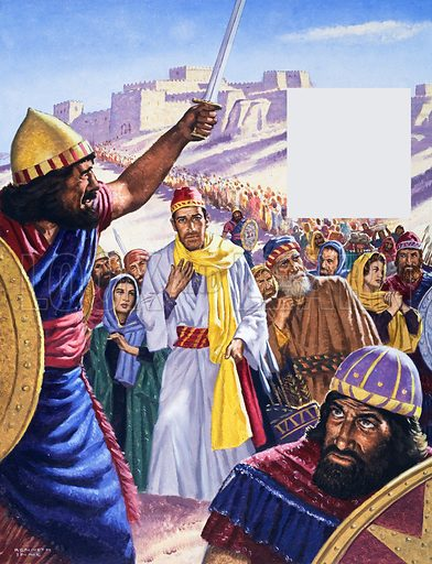 Jehoiachin.  Our picture shows him at the head of the long line of captives leaving the city of Jerusalem. He was to remain in prison in Babylon for 37 years until King Nebuchadnezzar eventually died. 2 Kings 24, 25.  Original artwork for illustration on p24 of The Bible Story issue no 20.  Lent for scanning by The Gallery of Illustration.