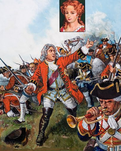 George II became the last British king to lead his soldiers into battle, on the field at Dettingen in 1743. Inset: Queen Caroline. Original artwork for illustrations on p29 of L&L issue no. 1016 (29 August 1981).