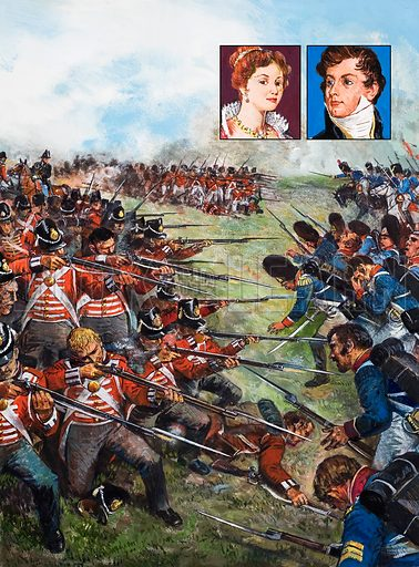 The Battle of Waterloo, 1815. Inset: Caroline, later refused admission to George IV's coronation; The Prince Regent, later George IV. Original artwork for the illustrations on p 29 of L&L issue no. 1018 (12 September 1981).