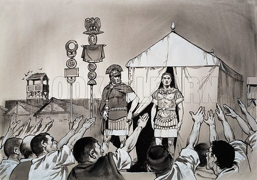 "The Glory that was Rome. Within a year Constantius Chlorus died in Britain. His soldiers at York rushed out on to their parade ground and, as one man, saluted his son with a great shout: ""Ave Imperator!"" Original artwork for the illustration on p 4 of L&L issue no. 627 (19 January 1973)."