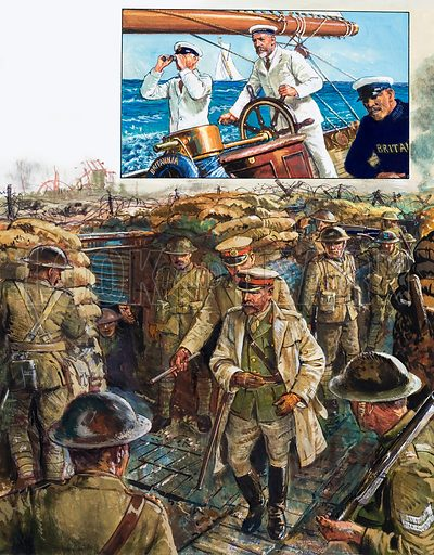George V. In later years it was one of his greatest pleasures to take the helm of Britannia at sea (top). On five separate occasions King George visited the troops fighting in France (main picture). Original artwork for the illustrations on p 29 of L&L issue no. 1023 (17 October 1981).