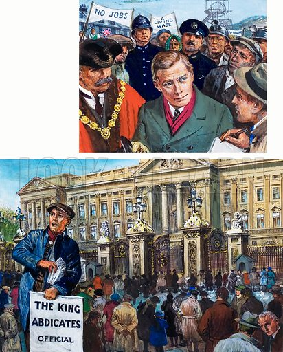 The King without a Crown. In 1936 the new king visited the depressed areas of South Wales (top). News of the Abdication spread quickly, and soon there were anxious crowds outside Buckingham Palace (bottom). Original artwork for the illustrations on p 29 of L&L issue no. 1024 (24 October 1981).