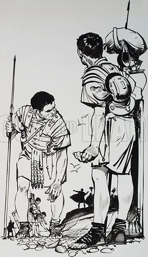 The Glory that was Rome. When the Roman army reached the north coast of France, Caligula ordered his soldiers to pick up all the sea shells they could find. Original artwork for the illustration on p3 of L&L issue no. 623 (22 December 1973).