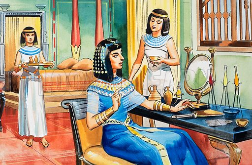 Egyptian lady at her dressing table. She is wearing a large, cumbersome (but very fashionable) wig.  Original artwork for illustration on p9 of The Bible Story issue no 16. Lent for scanning by The Gallery of Illustration.