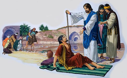 Christ makes the lame man walk. Original artwork for The Bible Story (issue as yet unidentified).