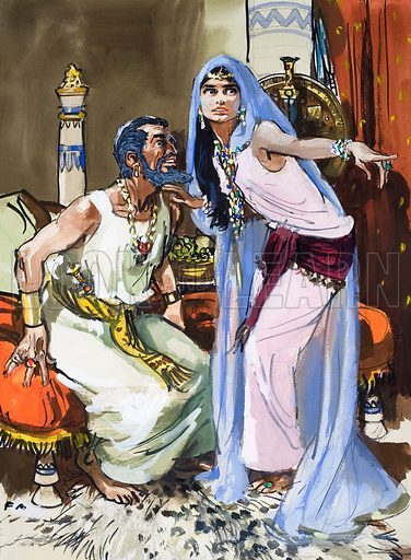 Jezebel talking to Ahab. In time, Ahab was killed in battle, and Jezebel was flung down from a tower to be eaten by dogs.  Original artwork for illustration on p24 of The Bible Story issue no 21 (25 July 1964).  Lent for scanning by The Gallery of Illustration.