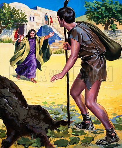The Parable of the Prodigal Son, from St Luke 15: 11-32.  Original artwork for illustration on p16 of The Bible Story issue no 14.  Lent for scanning by The Gallery of Illustration.