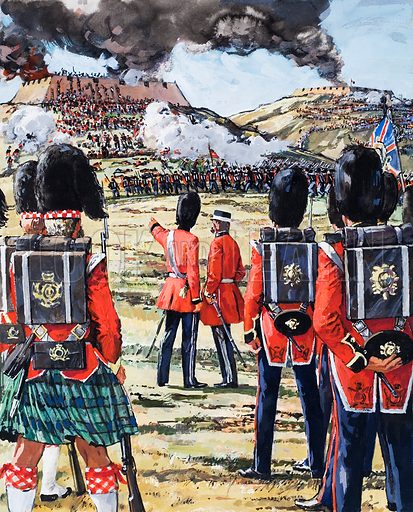 The Crimean War. Assault on the Redan. The Guards and Highlanders were kept standing by, while their comrades fell in their hundreds brfore the Russian guns. Original artwork for the illustration on p 5 of L&L issue no. 493 (26 June 1971).