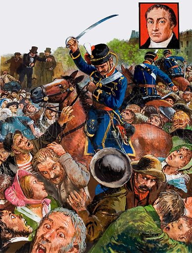 British radical orator Henry Hunt and the Peterloo Massacre, Manchester, 1819. As 50,000 protesters screamed in panic, the hussars rode through the crowd, swinging and striking out at anyone within reach. Inset: Henry Hunt (1773–1835), who addressed the rally attacked by the soldiers. Original artwork for the illustrations on p29 of Look and Learn issue no. 981 (27 December 1980).