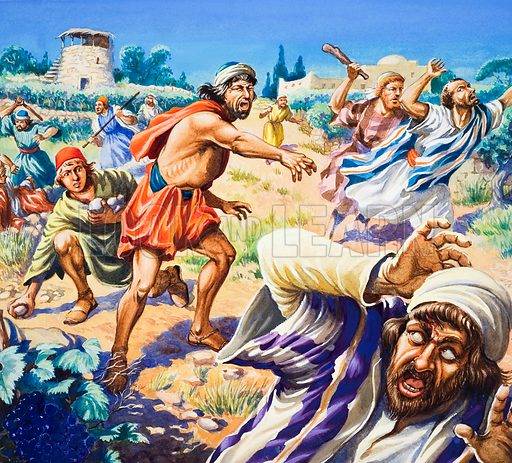 The Parable of the Wicked Husbandmen.  Original artwork for illustration on p22 of The Bible Story issue no 10 (9 May 1964).  Lent for scanning by The Gallery of Illustration.