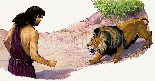 Samson and a Lion.  Original artwork for The Bible Story or Look and Learn.  Lent for scanning by The Gallery of Illustration.