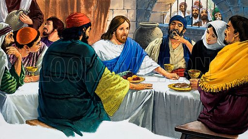 Christ with Mary Magdalene and some Disciples taking a meal together. Original artwork for an illustration in L&L or The Bible Story (as yet to be identified).