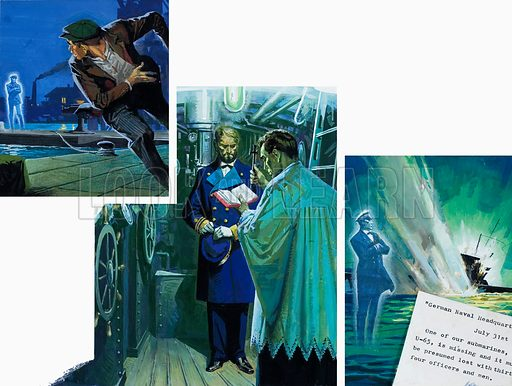 Scenes from a story concerning a ghostly Commander and a missing German submarine, Class U-65. A priest is shown in some relevant ceremony. Original artwork for illustrations possibly in L&L or an annual (as yet to be identified).