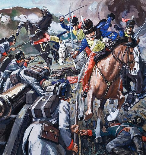 The Valley of Death - The Charge of the Light Brigade. At the Battle of Balaclava many British soldiers were cut down during their heroic charge. An episode immortalised by Alfred Lord Tennyson. Original artwork for the cover of L&L issue no. 636 (23 March 1974).