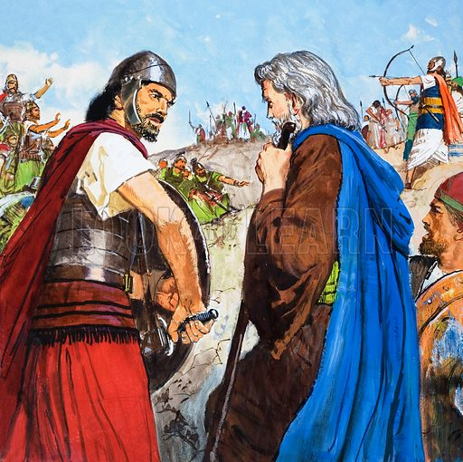 The story of Elisha retold from The Second Book of Kings in the Bible: The Enemies Meet. Original artwork for the illustration on p9 of Treasure no. 215.