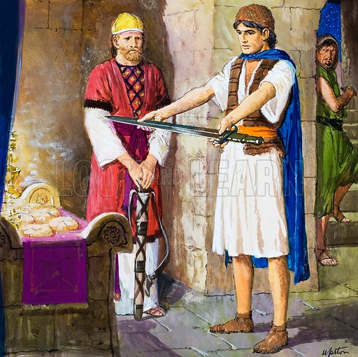 The Story of David retold from the First Book of Samuel in the Bible: The Sword of Goliath. Original artwork for the illustration on p9 of Treasure no. 229.
