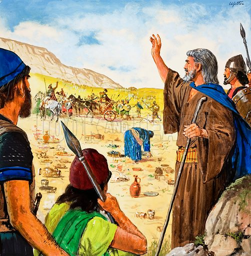 The story of Elisha retold from The Second Book of Kings in the Bible: The Syrians are Beaten. Original artwork for the illustration on p9 of Treasure no. 216.