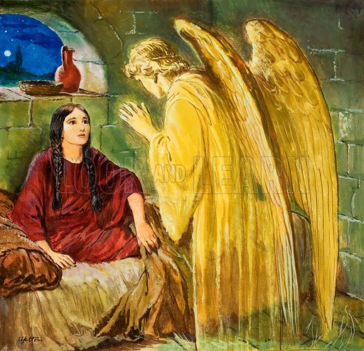 God's Angels: The Angel with Wonderful News. Original artwork for the illustration on p9 of Treasure no. 253.