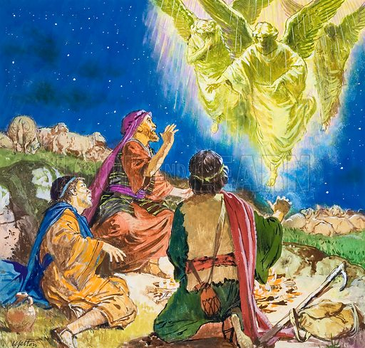God's Angels: The first to be told about Jesus. Original artwork for the illustration on p9 of Treasure no.258.