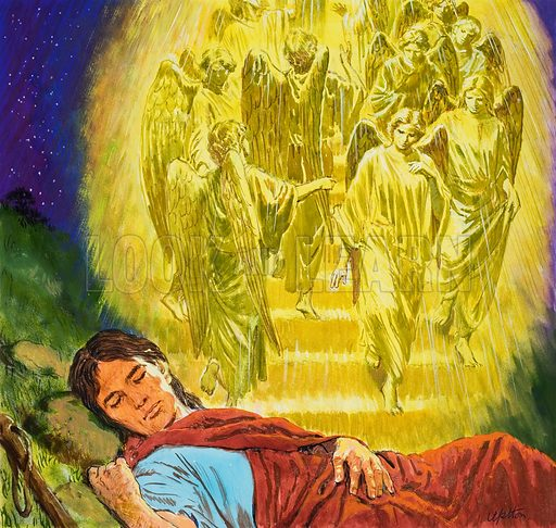 Strange Dreams from the Bible: Jacob's Ladder. Original artwork for the illustration on p9 of Treasure no. 256.