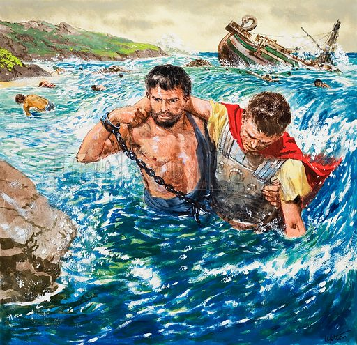 The story of Paul retold, taken from The Acts of the Apostles in The Bible: The Great Shipwreck. Original artwok for the illustration on p9 of Treasure no. 208.