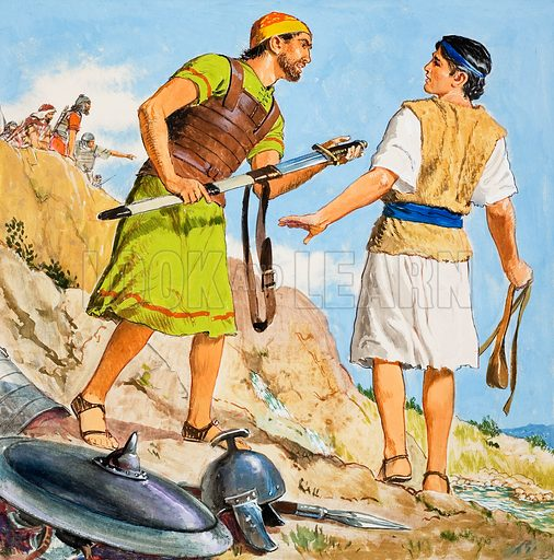 The Story of David retold from the First Book of Samuel in the Bible: David Prepares to Fight. Original artwork for the illustration on p9 of Treasure no. 221.