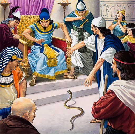 Aaron's Rod. Aaron flings down his rod before Pharaoh and it turns into a serpent. Original artwork for an illustration in The Bible Story (issue as yet unidentified).