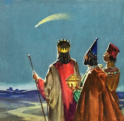 The Three Wise Men watching the star guiding them to the birthplace of Jesus Christ in Bethlehem. Original artwork for illustration in The Bible Story or Look and Learn (issue yet to be identified).
