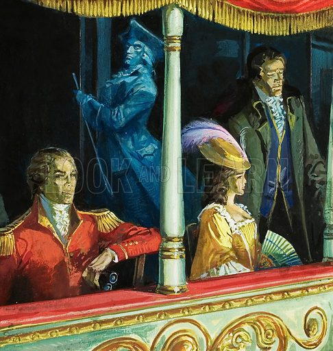 Ghost in the Theatre. Original artwork for illustration in Look and Learn (issue yet to be identified).