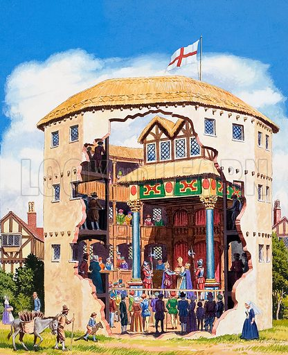 Elizabethan Theatre.  Original artwork for illustration in Look and Learn annual (issue yet to be identified).  Lent for scanning by The Gallery of Illustration.