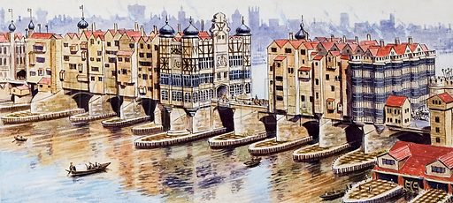 Old London Bridge.  Original artwork for Look and Learn (issue yet to be identified).  Lent for scanning by The Gallery of Illustration.